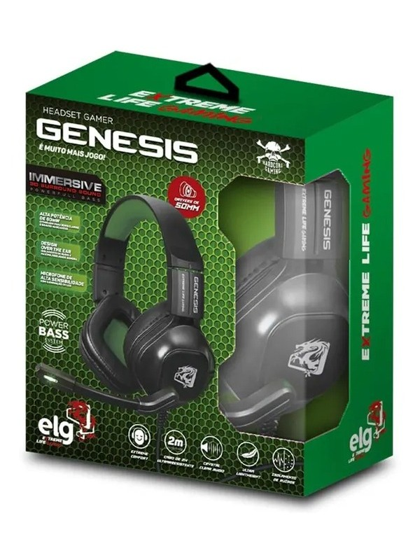 HEADSET GAMER GENESIS 2 CONECTORES P2 CABO 2 MTS CONTROLE VOLUME - ELG